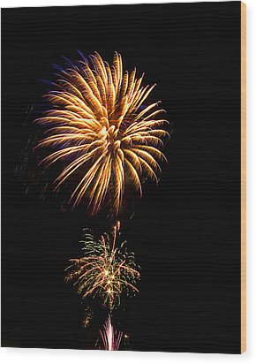 Wood Print featuring the photograph Fireworks 4 by Bill Barber