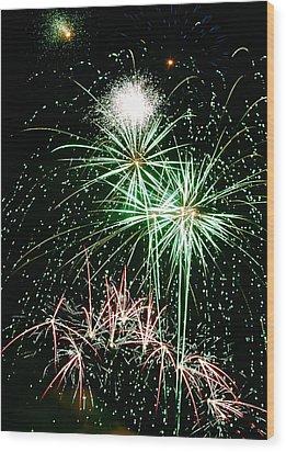 Fireworks 4 Wood Print by Michael Peychich