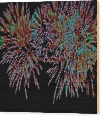 Fireworks Abstract Wood Print by Cathy Anderson