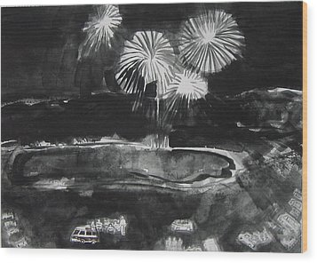 Fireworks At Eagle Nest Lake...0oohh..aahh.. Wood Print by Laurie Hill Phelps