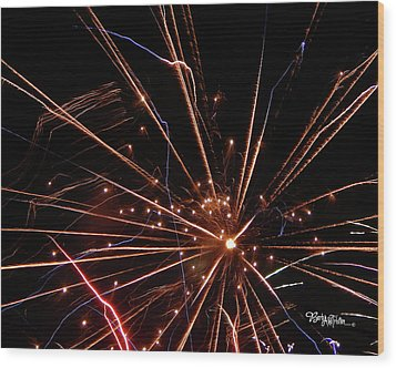 Wood Print featuring the photograph Fireworks Blast #0703 by Barbara Tristan