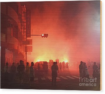 Wood Print featuring the photograph Fireworks During A Temple Procession by Yali Shi