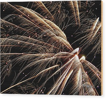 Wood Print featuring the photograph Fireworks Evolution #0710 by Barbara Tristan