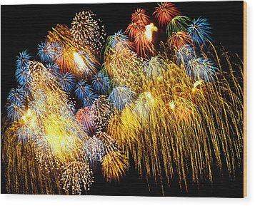 Fireworks Exploding  Wood Print by Garry Gay