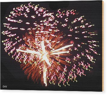 Fireworks Fun Wood Print by Debra     Vatalaro