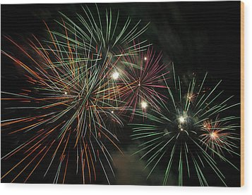 Fireworks Wood Print by Glenn Gordon