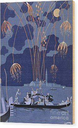 Fireworks In Venice Wood Print by Georges Barbier