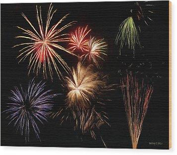 Fireworks Wood Print by Jeff Kolker