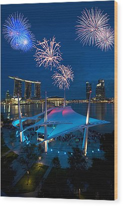Wood Print featuring the photograph Fireworks by Ng Hock How