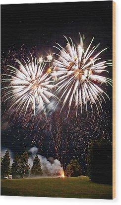 Fireworks No.5 Wood Print by Niels Nielsen