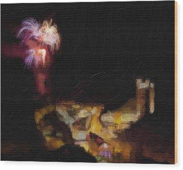 Fireworks Over Blackhawk Colorado Wood Print by David Renner