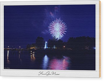 Fireworks Over Concord Point Lighthouse Havre De Grace Maryland Prints For Sale Wood Print by Michael Grubb