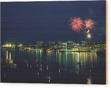 Fireworks Over Halifax Harbor Celebrate Wood Print by James P. Blair
