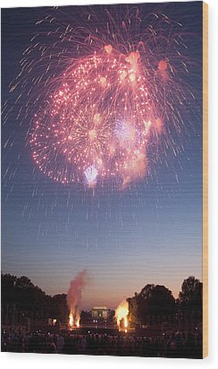 Fireworks Over Lincoln Wood Print by Colleen Joy