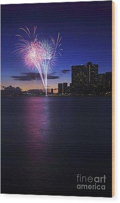 Fireworks Over Waikiki Wood Print by Brandon Tabiolo - Printscapes
