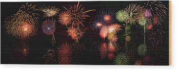 Fireworks Reflection In Water Panorama Wood Print