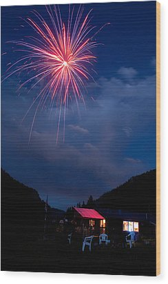 Fireworks Show In The Mountains Wood Print by James BO  Insogna