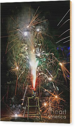 Wood Print featuring the photograph Fireworks by Vivian Krug Cotton