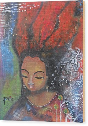 Firey Hair Girl Wood Print