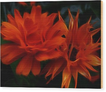 Firey Red Orange Flowers Abstract Wood Print by Cindy Wright