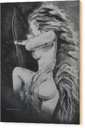 Firey Sagittarius Shooting Stars Wood Print