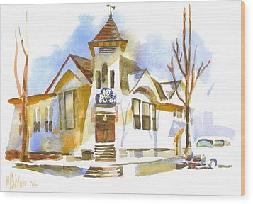Wood Print featuring the painting First Baptist Church In Winter by Kip DeVore