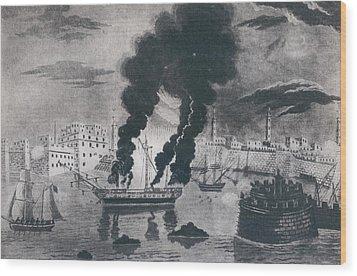 First Barbary War 1801-1805. Burning Wood Print by Everett