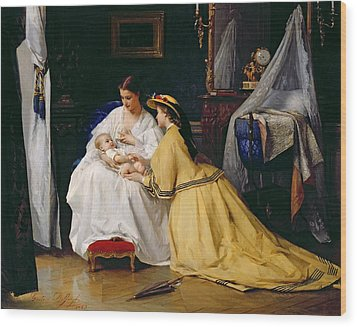 First Born Wood Print by Gustave Leonard de Jonghe