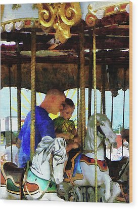 First Carousel Ride Wood Print by Susan Savad