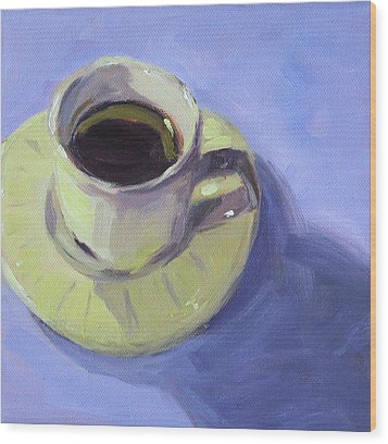 Wood Print featuring the painting First Cup by Nancy Merkle