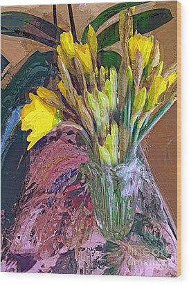 Wood Print featuring the digital art First Daffodils by Alexis Rotella