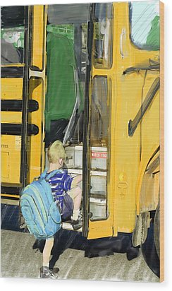 First Day Bus Ride Wood Print by Ken Gimmi
