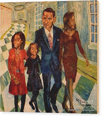 First Family Obama's Wood Print by Keith OBrien Simms