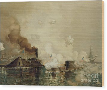 First Fight Between Ironclads Wood Print by Julian Oliver Davidson