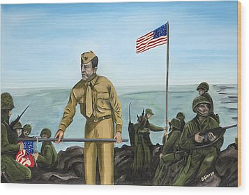 First Flag Raising Iwo Jima Wood Print