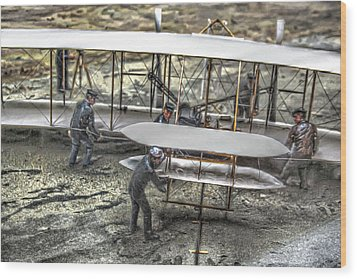 First Flight Wright Brothers Wood Print by Randy Steele