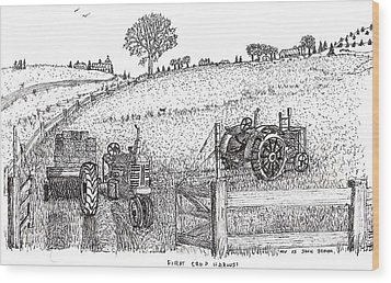 Wood Print featuring the drawing First Hay Crop by Jack G  Brauer
