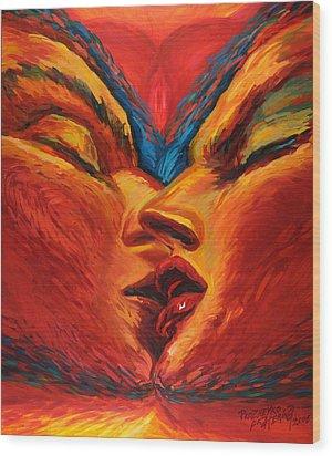 First Kiss Wood Print by Ekaterina  Prozheyko