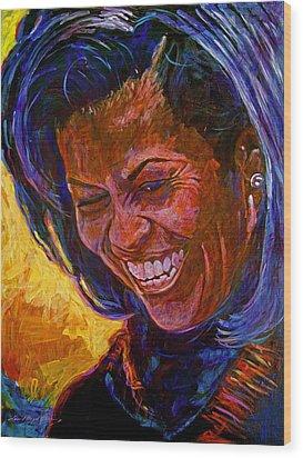 First Lady Michele Obama Wood Print by David Lloyd Glover
