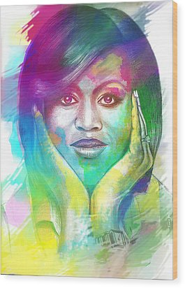 Wood Print featuring the mixed media First Lady Obama by AC Williams