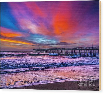Wood Print featuring the photograph First Light On The Beach by Nick Zelinsky