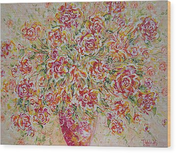 Wood Print featuring the painting First Love Flowers by Natalie Holland