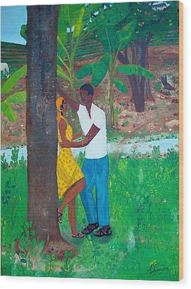 Wood Print featuring the painting First Love by Nicole Jean-louis