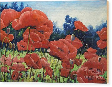 First Of Poppies Wood Print by Richard T Pranke
