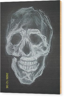 First Skull Work Wood Print by Nancy  Caccioppo