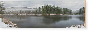 First Snow At Lake Nawahunta Wood Print