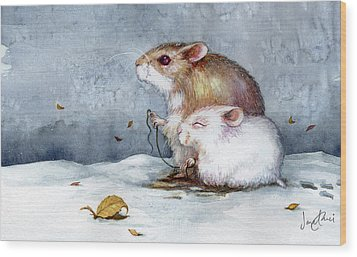 First Snow Wood Print by Janet Chui