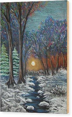 First Snow Wood Print by Nancy Mueller