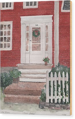First Snow Wood Print by Sue Olson