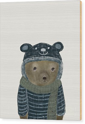 Wood Print featuring the painting First Winter Bear by Bri B